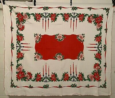 $ CDN17.61 • Buy Vintage Cotton Tablecloth 50s CUTE Christmas / Holiday Candles NOVELTY 52x58