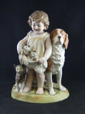 Antique Continental Heubach Style Bisque Figure Group Girl With Cats & Dog • 94.95£