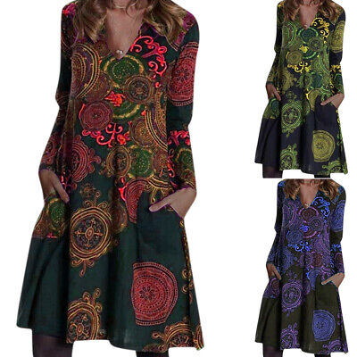 Women Boho Floral Long Sleeve Tunic Dress Retro V-Neck Midi Dresses Plus Size • 24.29£