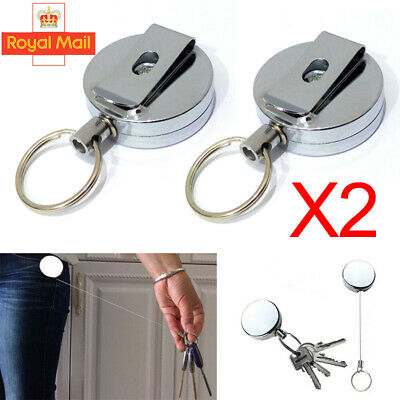 £4.78 • Buy 2X Retractable Stainless Keyring Pull Ring Key Chain Rope Recoil Heavy Duty NEW