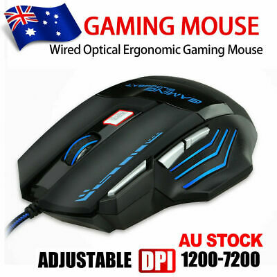 AU15.49 • Buy LED Wired Game Gaming Mouse USB Ergonomic Optical For PC Laptop Computer 7200DPI
