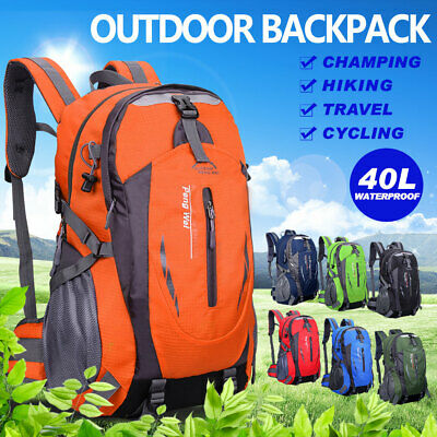 AU21.59 • Buy Hiking Backpack Bag Camping Travel Outdoor Luggage Rucksack Waterproof 40L Large