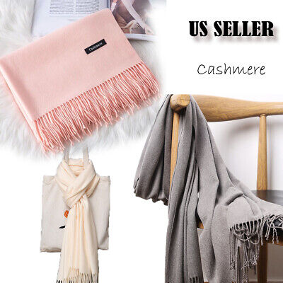 $9.99 • Buy Mens Womens Oversize Solid Scarf 100% Cashmere Scotland Wool Blanket Shawl Wrap
