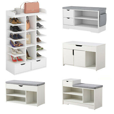 £59.90 • Buy Shoe Bench Shoe Storage Rack Wooden Shoe Cabinet With Seat Cushion Hallway Bench