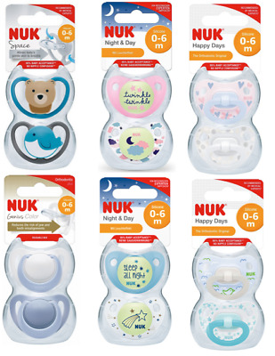 £6.99 • Buy 2 X NUK Silicone Soothers Dummy 0-6M Size 1 Genius Space Night & Day Happy Days