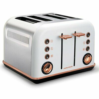 AU106.68 • Buy Morphy Richards 242108 White Accents 4 Slice Toaster Rose Gold W/ Removable Tray