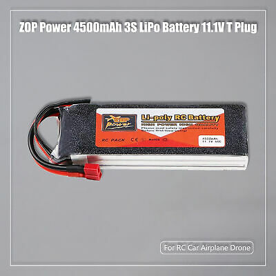 ZOP Power 3S LiPo Battery 4500mAh 11.1V 60C T Plug Deans  For RC Car Airplane • 28.79£