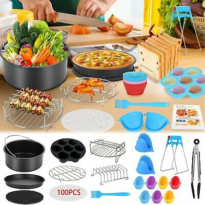AU24.99 • Buy 130pcs Air Fryer Accessories Frying Cage 8inch Baking Pan Rack Pizza Tray Pot