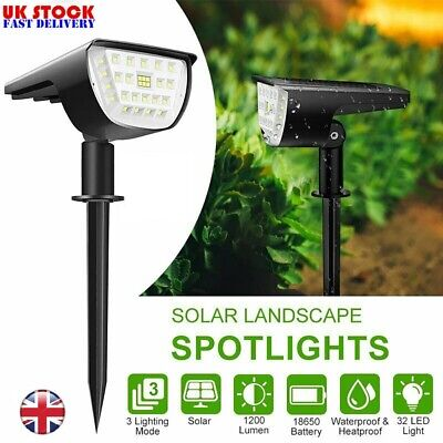 32 LED Solar Powered Spotlight Waterproof Landscape Garden Yard Lawn Wall Lights • 11.49£