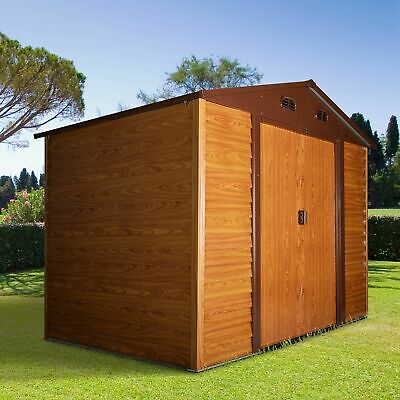 Outsunny 9 X 6ft Garden Shed Wood Effect Tool Storage Sliding Door Wood Grain • 379.99£