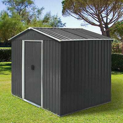 Outsunny 8 X 6ft Garden Roofed Metal Storage Shed W/ Ventilation & Doors,Grey • 319.99£