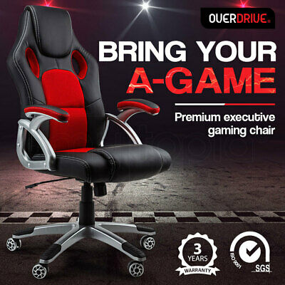 AU144 • Buy OVERDRIVE Racing Office Chair Seat Executive Computer Gaming PU Leather