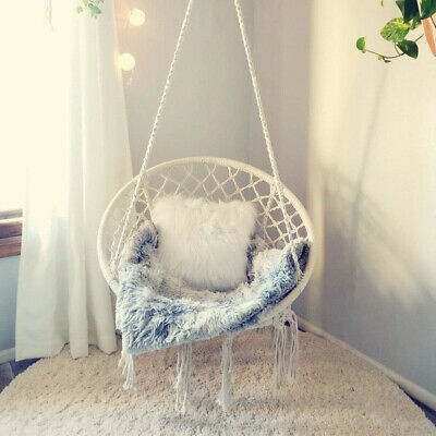 Hanging Swing Chair Rope Hammock Portable Indoor Garden Patio Soft Cotton Seat • 159.54£