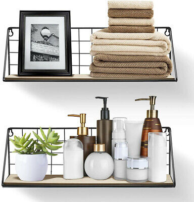 £10.93 • Buy Pack 2 Floating Shelves Wall Mounted Wire Metal Wood Storage Shelf Large Small