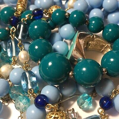 $ CDN32 • Buy Vintage To Modern Tones Of Blue Jewelry Lot , Lia Sophia Glass & Pearl  Necklace