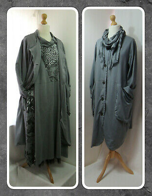 Bnwt, Quirky, Lagenlook, Grey, Cotton Jersey, Duster Coat & Print Scarf, Osfa  • 39.99£