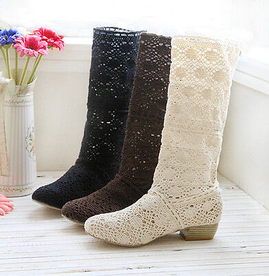 £34.69 • Buy Women's Mid Calf Boots Knitted Boot Round Toe Shoes Ladies Chunky Heels Slip On