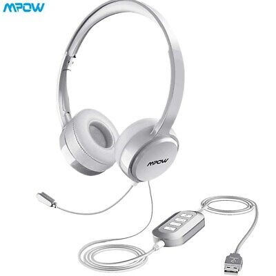 Mpow USB 3.5mm Wired Computer PC Headset Headphones MIC For Call Center Skype • 26.02£