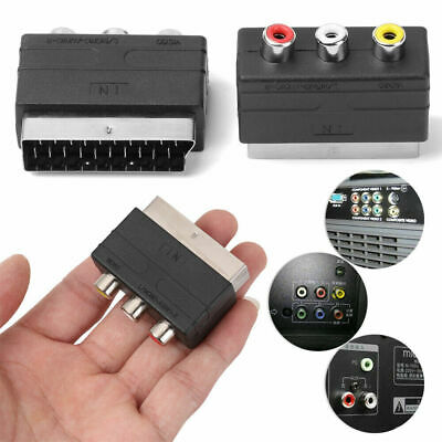 £2.99 • Buy RGB SCART Plug To 3 RCA A/V Adaptor Converter For TV DVD VCR Wii Xbox PS2 BN*