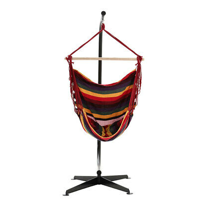 Portable Swing Chair Hanging Rope Hammock Patio Garden Canvas Seat C Frame Stand • 159.54£