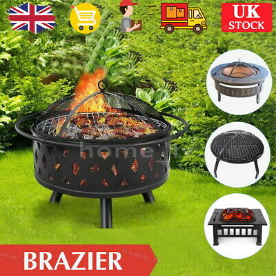 Outdoor Garden Large Firepit Metal Stove Brazier Patio Heater/BBQ/Ice Pit 3 In 1 • 96.99£