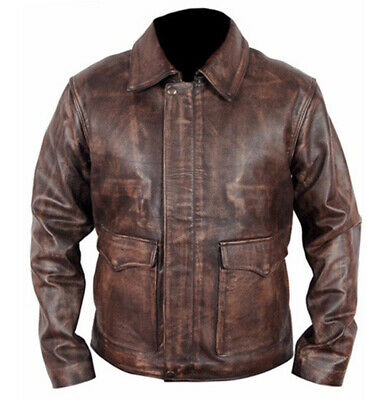 Indiana Jones Harrison Ford Classic Genuine Real Distressed Brown Leather Jacket • 79.99£