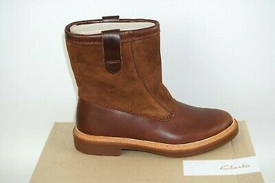 Clarks 'trace Fern' Tan Leather & Suede Combi Pull On  Boots. D Fitting.  Bnib • 32.99£