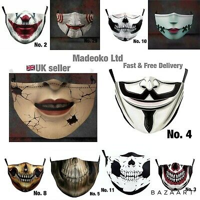 £4.48 • Buy Horror Face Mask,Reusable The Joker,Goth Skull,Scary Halloween, Fashion,Washable