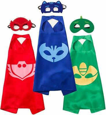 PJ Masks Cape Mask Set Gekko Owlette Catboy Cosplay Kids Costume Party Toy Gift • 11.99£