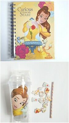 £9 • Buy Christmas. Beauty And The Beast. Cup Straw Pencil 12 Erasers. Hardback Notebook