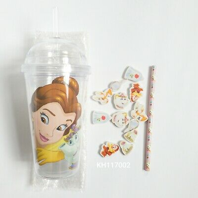 £5.50 • Buy Disney Princess Belle. Beauty And The Beast. Cup Straw Pencil 12 Erasers.Tumbler