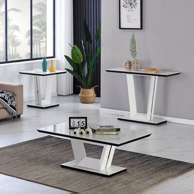 £49.99 • Buy White High Gloss Coffee Table Side End Tables Living Room Side Desk Furniture