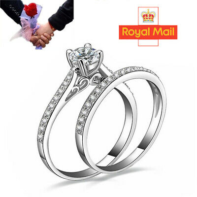 £3.98 • Buy 925 Sterling Silver Plated Couple Diamond Engagement Rings Crystal Gift Set UK