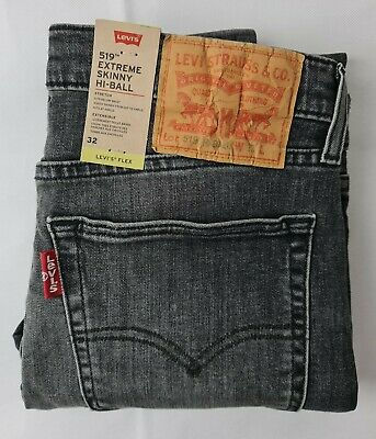 Brand New Levis 519 Extreme Super Skinny Hi-Ball Men Grey Jeans Denim Pants  • 39.95£