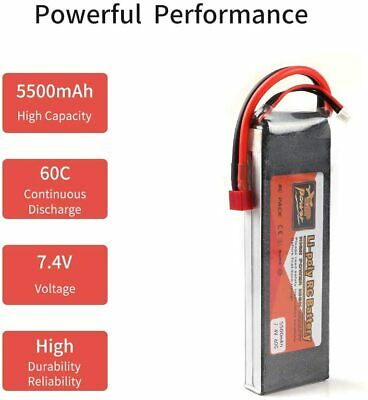ZOP Power 7.4V 5500mAh 60C 2S LiPo Battery T Plug For RC Car Airplane Helicopter • 19.37£