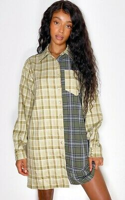 Pretty Little Thing Size 4 Green Two Tone Checked Shirt Dress BNWT • 9.99£