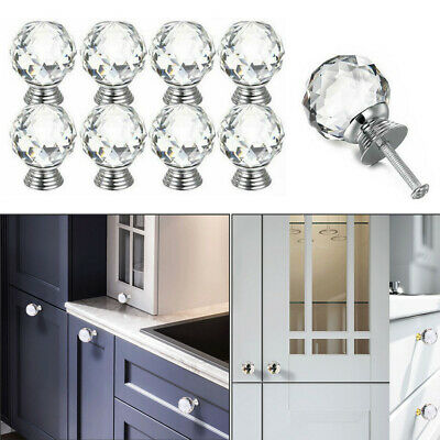 8pcs Wardrobe Pull Handle Crystal Ball Glass Door Knobs For Furniture Delicate • 10.66£