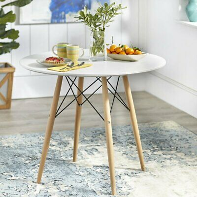 AU99 • Buy AINPECCA White Dinning Table Round Table Wood Legs Dining Room Cafe Office
