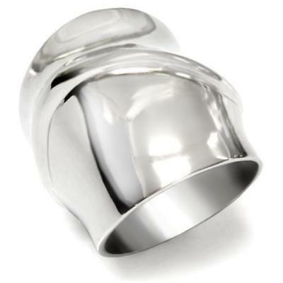 Ladies Stainless Steel Ring No Stone Wide Silver Contemporary Designer Size R 9 • 10.99£