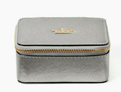 $ CDN77.27 • Buy Kate Spade Cameron Street Ollie Leather Small Jewelry Box Case ~NWT~ Silver Gray