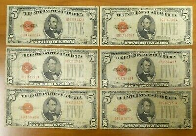 $ CDN127.58 • Buy 6 (SIX) 1928 $5 Five Dollars Red Seal  US Notes Bill Currency Paper Money
