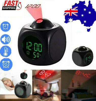 AU13.99 • Buy LCD Voice Talking LED Digital Projection Alarm Clock Time Temperature Projector