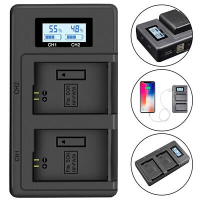 NP-FW50 LCD Camera Battery Dual Charger For Sony Alpha A6500 A6300 A6000 A3000 • 9.89£