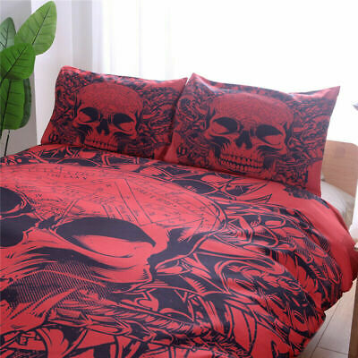 Red Skull Gothic Duvet Cover Quilt Cover Bedding Set With Pillow Cases All Sizes • 39.99£
