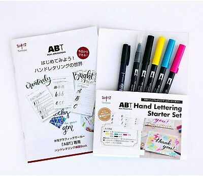 Tombow ABT Hand Lettering Starter Kit Dual Brush Pens With Practice Book Japan  • 16.31£