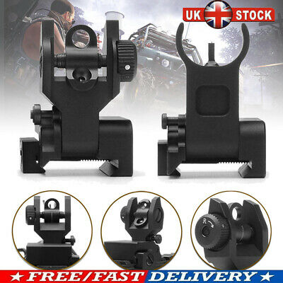 £11.55 • Buy Low Profile Tactical Front And Rear Folding Flip Up Iron Backup Sights Hunting