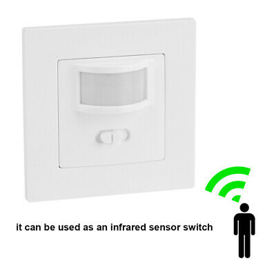 Automatic 2 Wire Infrared On Off PIR Motion Sensor Wall Mounted LED Light Switch • 11.48£