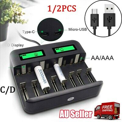AU25.88 • Buy 8 Slots Intelligent LCD Battery Charger For AA AAA C D Rechargeable Type C USB