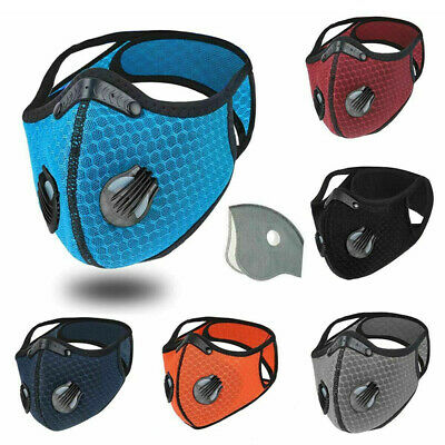 Reusable Washable Anti Pollution PM2.5 Face Mask Two Air Vent With Filter UK • 6.39£