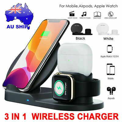 AU26.98 • Buy 3in1 QI Wireless Charger Charging Station Dock For Apple Watch / IPhone/ AirPod